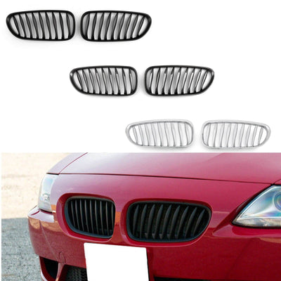 2x Chrome Front Bumper Sport Kidney Grille Grill For BMW Z4 E85 E86 2003-2008