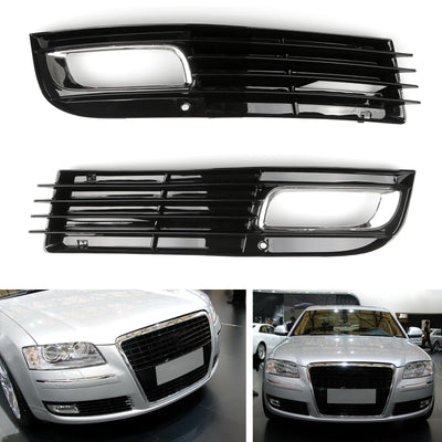 ABS Car Lower Bumper Grille Fog Light Grill w/Chromed For Audi A8 D3 08-10 Left