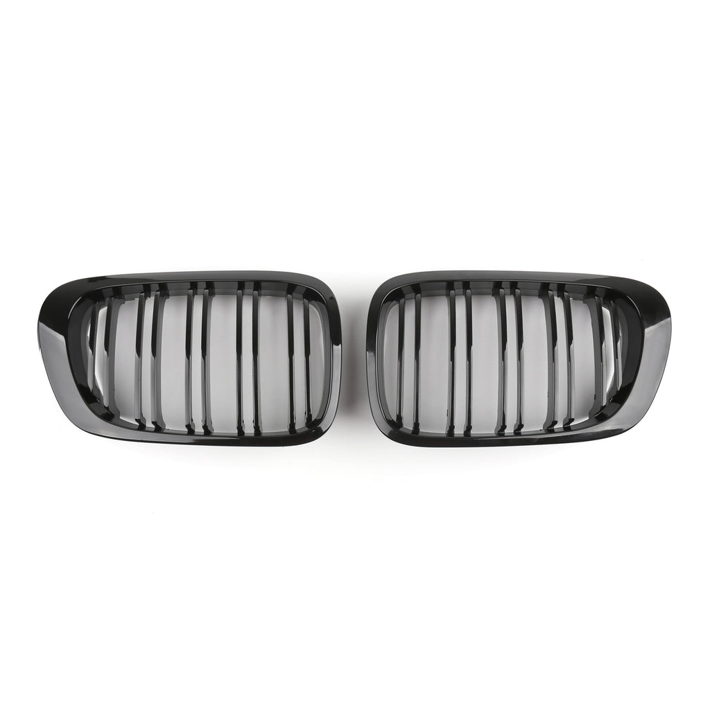 Double Line Front Hood Grille Grills Gloss Black For BMW E46 2-Door 1998-2001