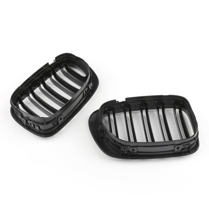 Double Line Front Hood Grille Grills Gloss Black For BMW E46 2-Door 1998-2001 Generic