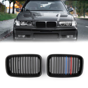 1Pair Matte Black Front Hood Grille Kidney For BMW E36 3 Series M3 (1992-1996)