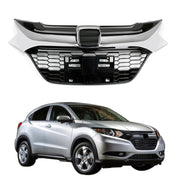 Front Grille Sport Style Chrome Black Glossy Grill Trim For Honda HR-V HRV 16-18