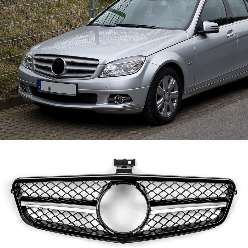 For Benz 2008-2014 W204 C-Class C300 C350 ABS Gloss Black Chrome Grille New