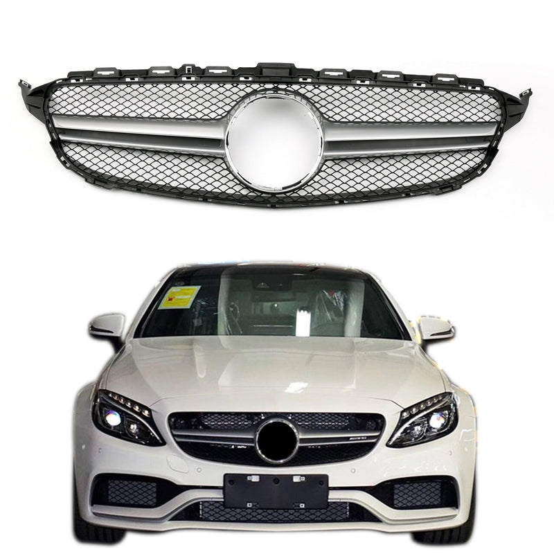Front Bumper Grille Grill W205 C63AMG Style For Benz C-class Black (2015+)