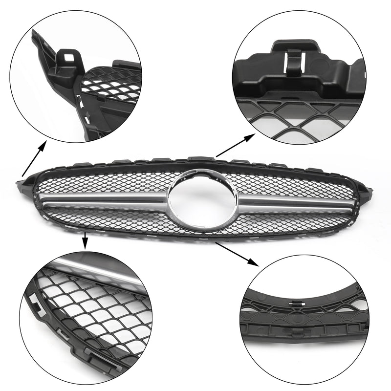 Front Bumper Grille Grill W205 C63AMG Style For Benz C-class Black (2015+) Generic