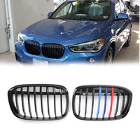 1Pair Gloss Black M-Color Front Kidney Grill Grille For BMW F48 F49 X1 216+