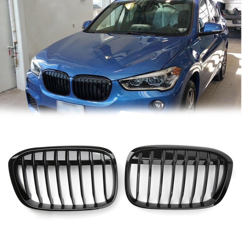 New Pair Front Kidney Grille Grill For BMW 2016+ F48 F49 X1 X-Series Black Generic