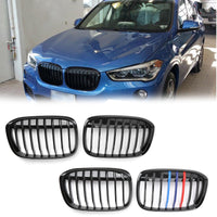 1 Pair Front Kidney Grille Grill For BMW 216+ F48 F49 X1 X-Series Matte Black