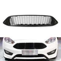 Black+Chrome Front Bumper Hood Honeycomb Mesh Grill Grille For Ford Focus 15-16
