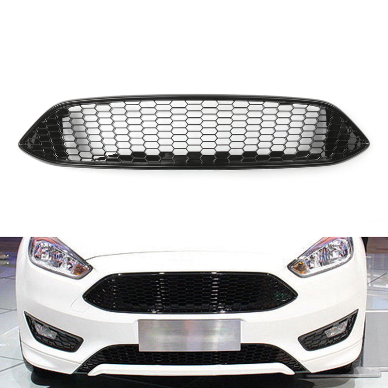Black+Red Honeycomb Mesh Front Bumper Center Grille Panel For Ford Focus 15-216