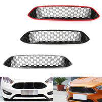 Front Bumper Grille For 2015 2016 Ford Focus ABS Gloss Black Honeycomb New Style