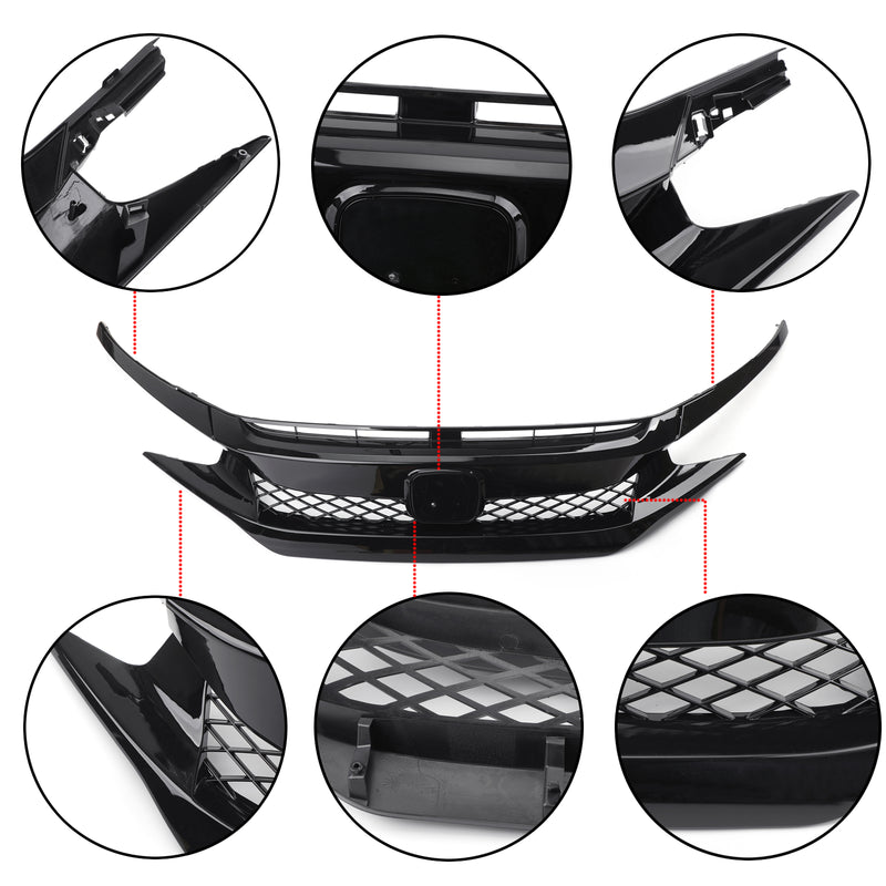 Black Type R Bumper Grille + 2 Pieces Eyebrows For 2016-2018 Civic 10th X FK8 Generic