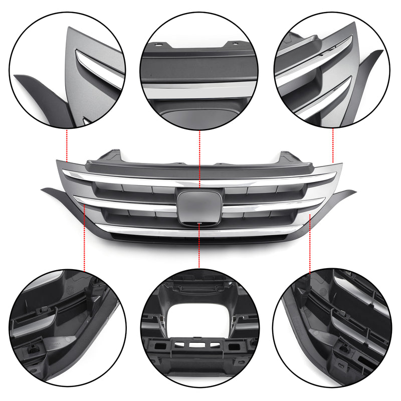 Front Upper Bumper ABS Chrome Black Mesh Grille Grill For Honda CRV 2012-2014 Generic