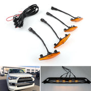 4PCS Plastic Car Grilles Grill LED Lights For Toyota 4Runner TRD Pro 2014-2019