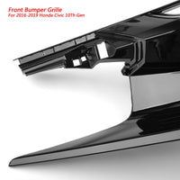 Black Battle Style Front Hood Grille Kit For 2016-2018 Honda Civic 10Th Gen