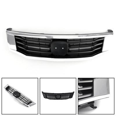Front Grille Primed Black With Chrome Molding Trim For 2008-2010 Honda Accord