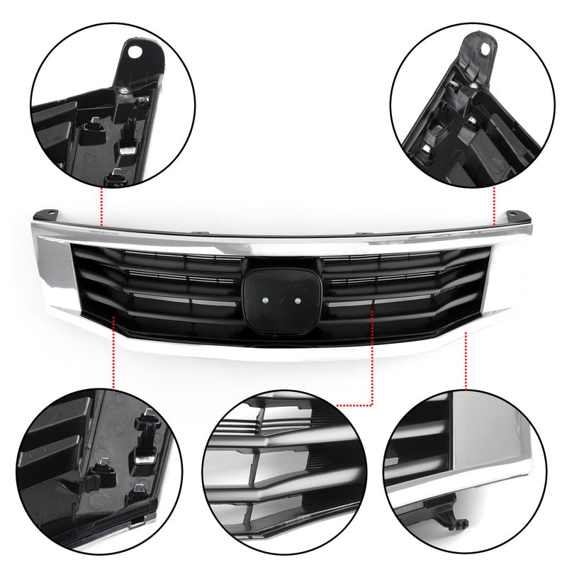 Front Grille Primed Black With Chrome Molding Trim For 2008-2010 Honda Accord Generic
