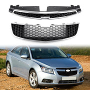 2PC Front Bumper Upper + Lower Grille Inserts Trim Covers For 09-15 Chevy Cruze