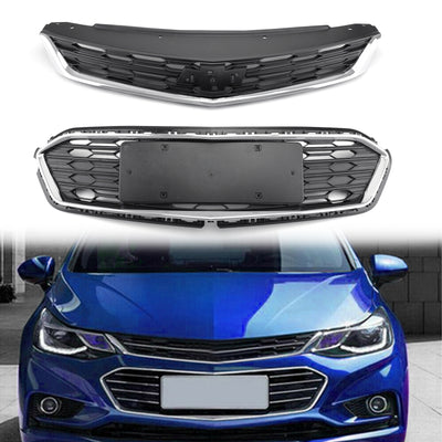 2PCS Front Bumper Upper Grill Middle Lower Grille For Chevrolet Cruze 2016-2017