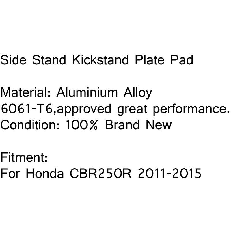 Side Stand Kickstand Plate Foot Plate Pad Enlarge For Honda CBR250R 2011-2015 Generic