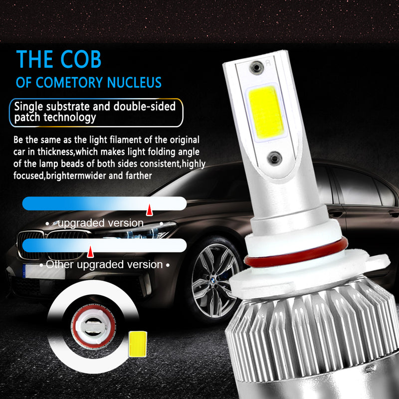 2x Car LED 72W 7600LM LED C6 9005 COB Chip Headlight Bulbs LED Lights Car Truck Generic