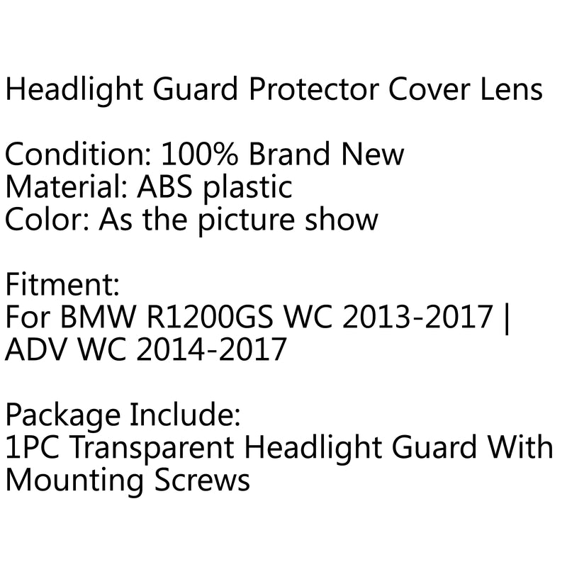 Front Headlight Guard Cover Lens Protector For BMW R1200GS ADV WC 2013-2017 Generic