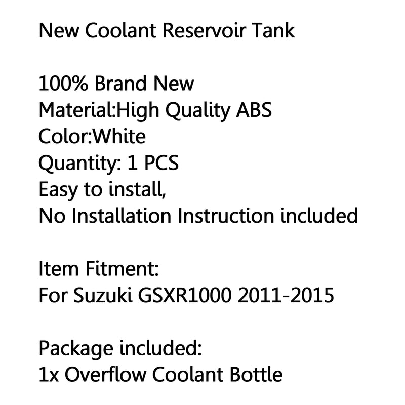 Radiator Coolant Overflow Tank Coolant Reserve Bottle For Suzuki GSXR1000 11-15 Generic