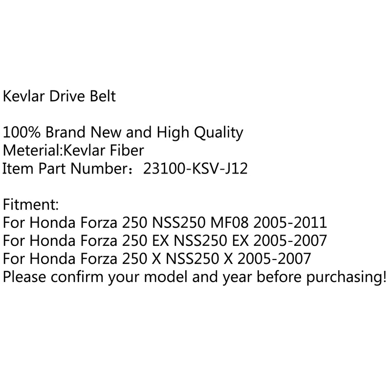 Premium Drive Belt For Honda Forza 250 NSS250 MF08 05-11 EX NSS250 05-07 Generic
