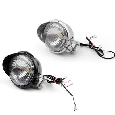 Motorcycle LED Angel Eye Headlight Fog Light For Harley Dyna Glide