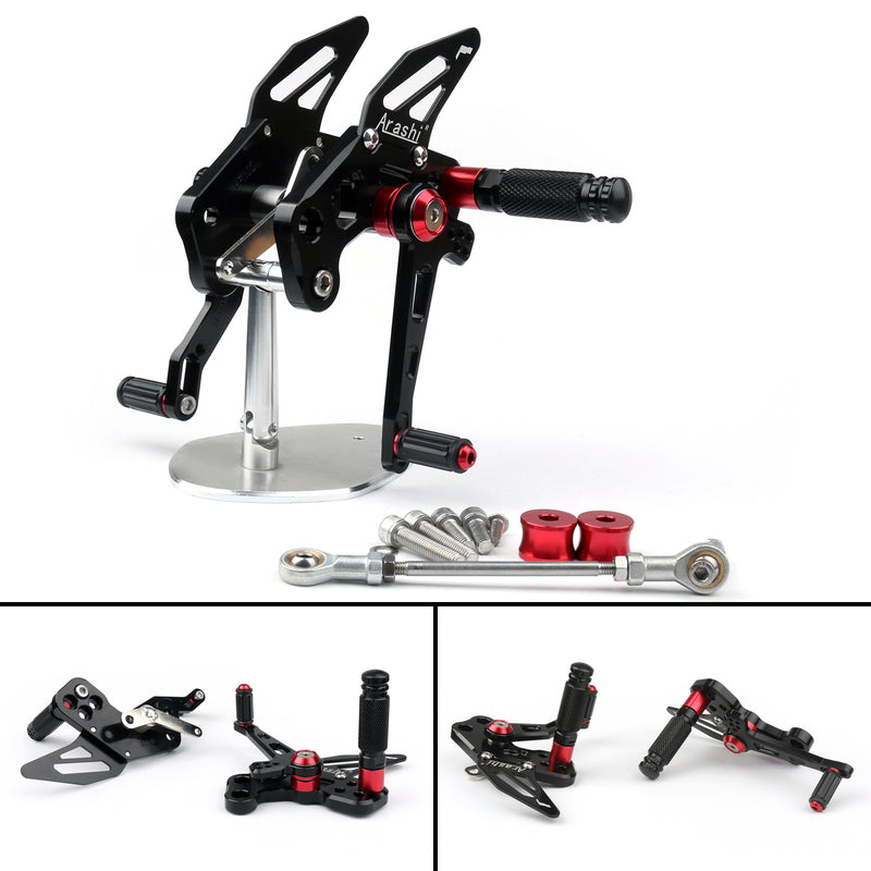 CNC Adjustable Rearsets Footrest Foot Peg Fit For 2016-2017 Kawasaki Z125 Generic