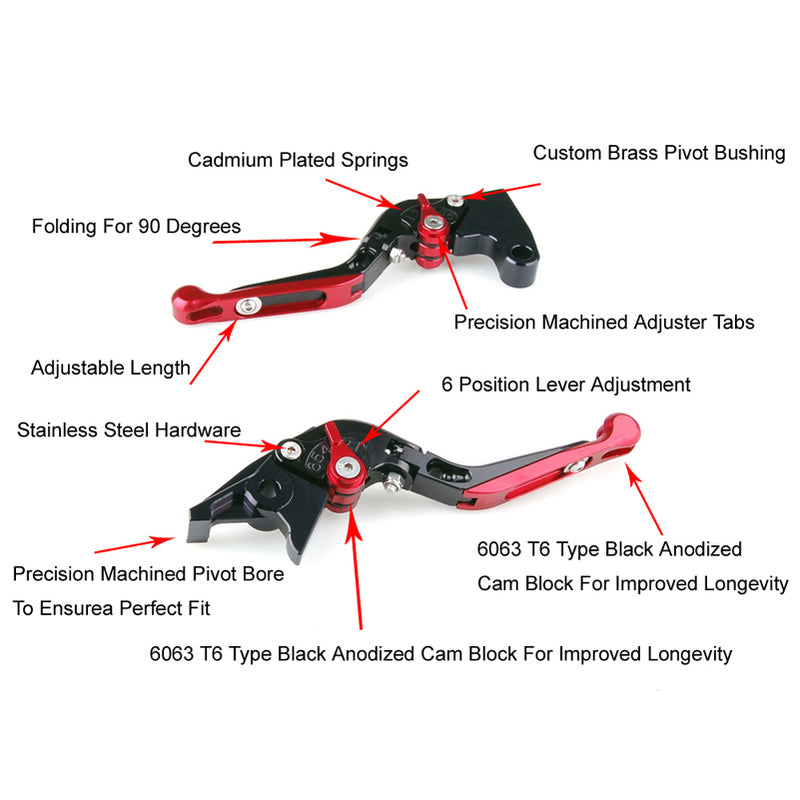 Adjustable Folding Extendable Brake Clutch Levers For Suzuki GSXR 600 750 Generic