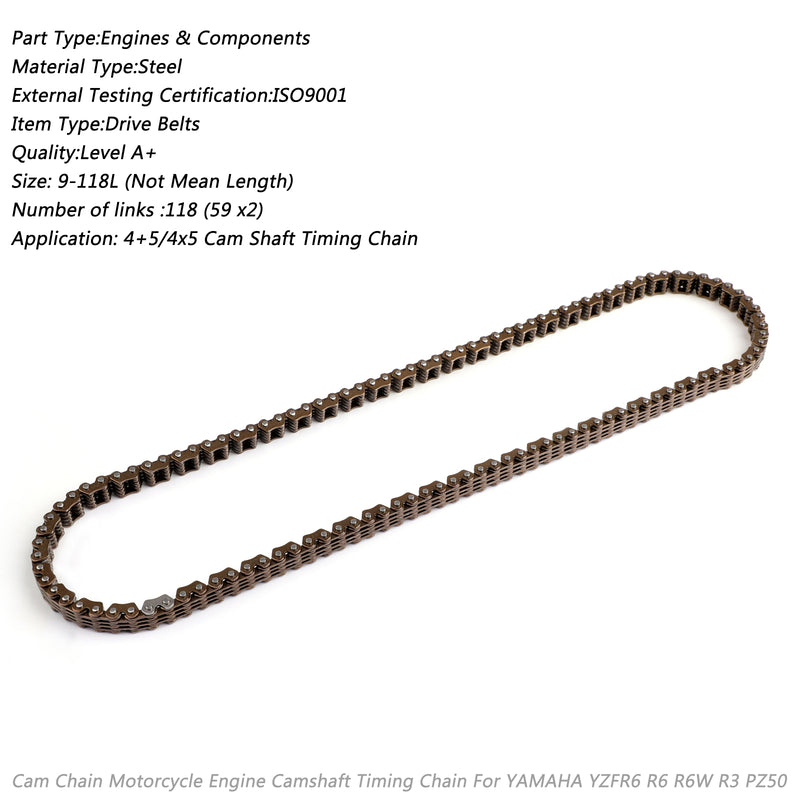 Timing Cam Chain 118L For Yamaha XVS650 V-Star 650 94591-41118 94591-64118 Generic