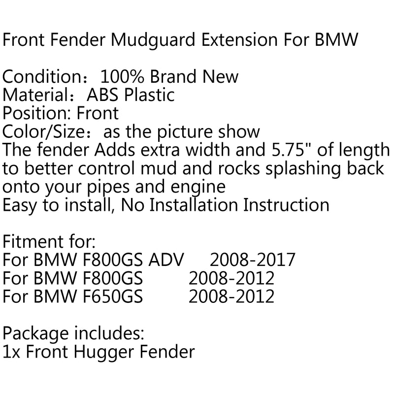 ABS Motorcycle Front Fender Extender Extension For BMW F650GS F800GS F800 ADV Generic