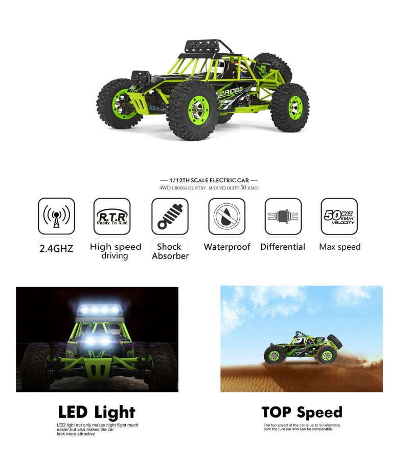 RC Car Electric Brushed Crawler RTR Auto Gift Wltoys 12428 1/12 Scale 2.4G 4WD Green
