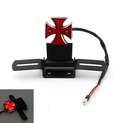 Motorcycle Quad ATV Cross Brake Stop Red License Plate LED Rear Tail Light