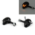 Motorcycle Skull Head Turn Signal Indicator Blinker 12V LED Amber Light Lamp CHR
