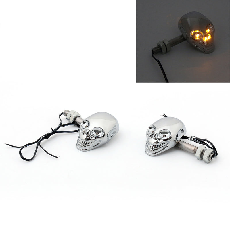 Motorcycle Skull Head Turn Signal Indicator Blinker 12V LED Amber Light Lamp Generic