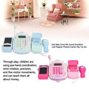 Kids Baby Funny Mic Sound Simulation Cash Register Pretend Cashier Play Toy Set