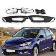 Front Bumper Fog Lights L+R w/Switch+Harness+Bulbs For 2015-2018 Ford Focus