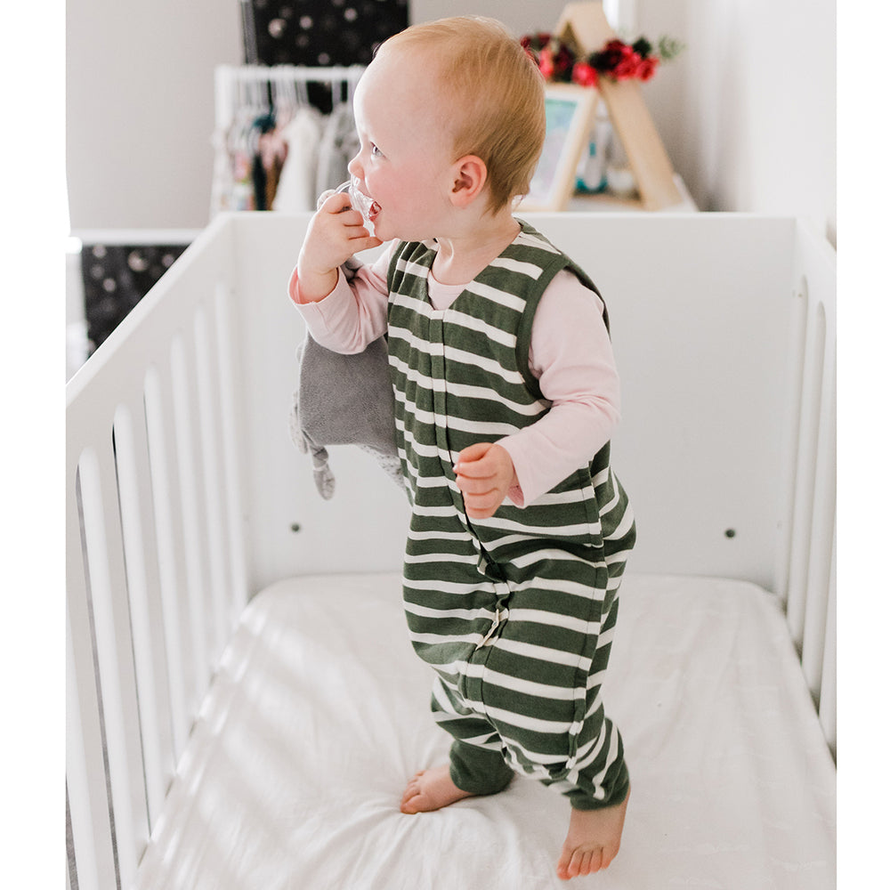 Woolbabe 3 Seasons Sleeping Suit - Fern Stripe