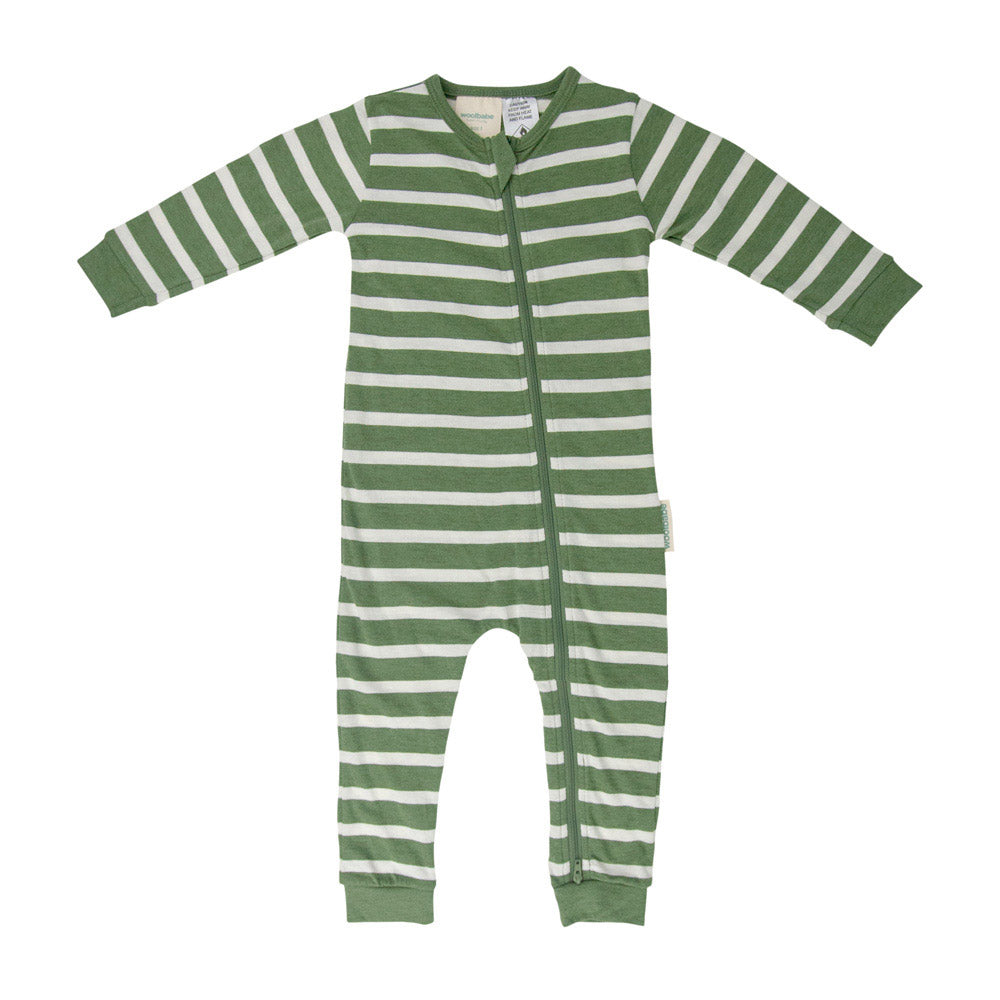 Woolbabe Merino/Organic Cotton PJ Suit - Fern Stripe