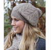 Lothlorian Relaxed Cable Beanie with Fur Pompom