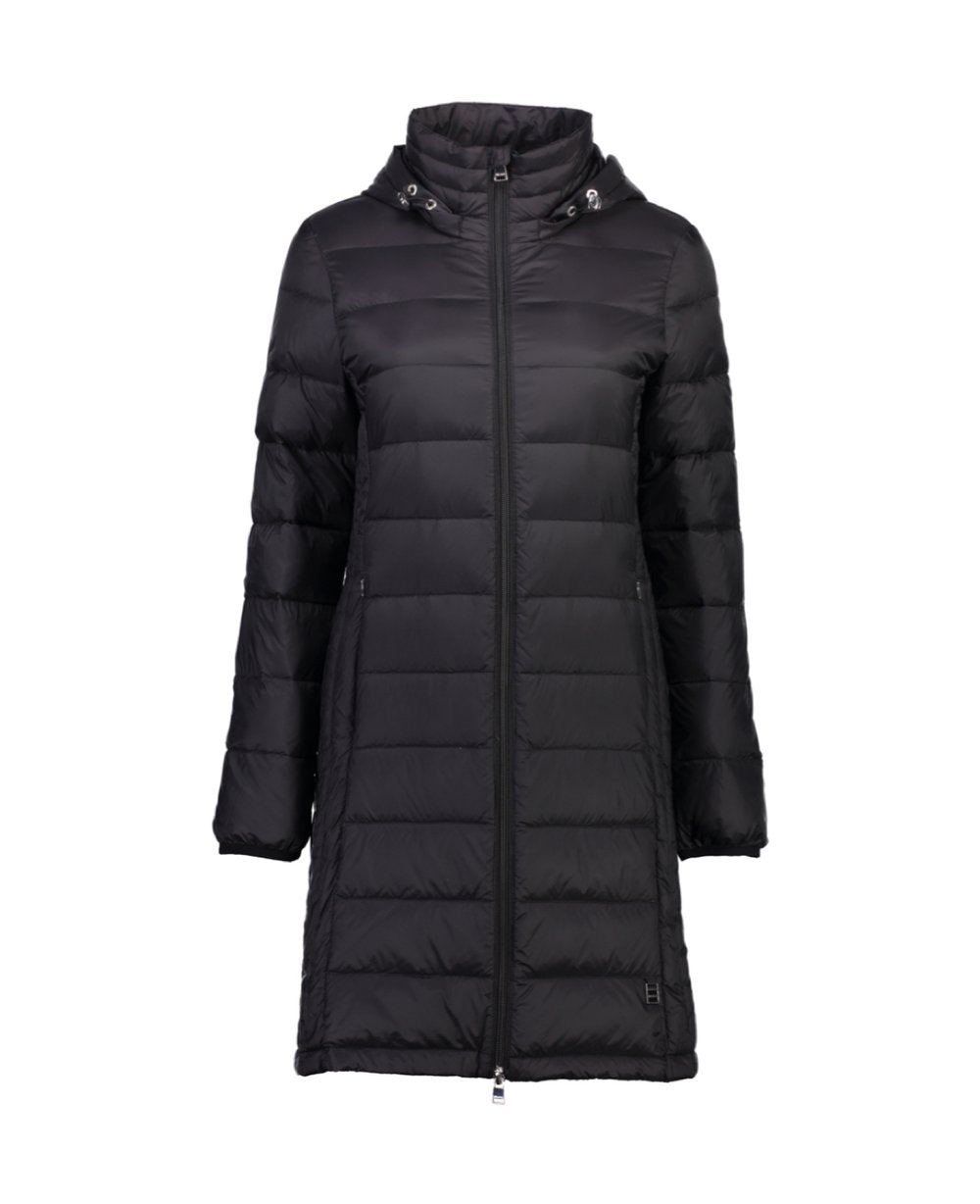Moke Sarah Long Ladies Hooded 90/10 Down Jacket - Black