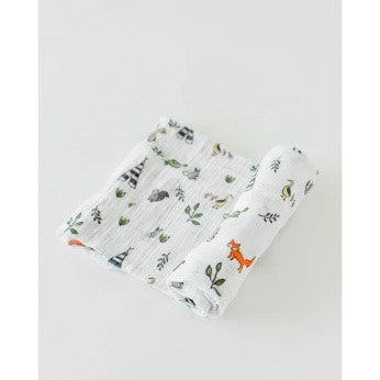 Little Unicorn - Single Cotton Muslin Swaddle - Forest Friends