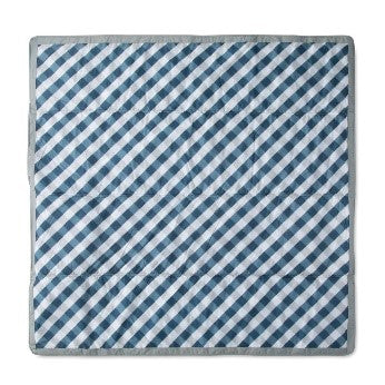 Little Unicorn - Outdoor Blanket 5 x 5 - Navy Gingham