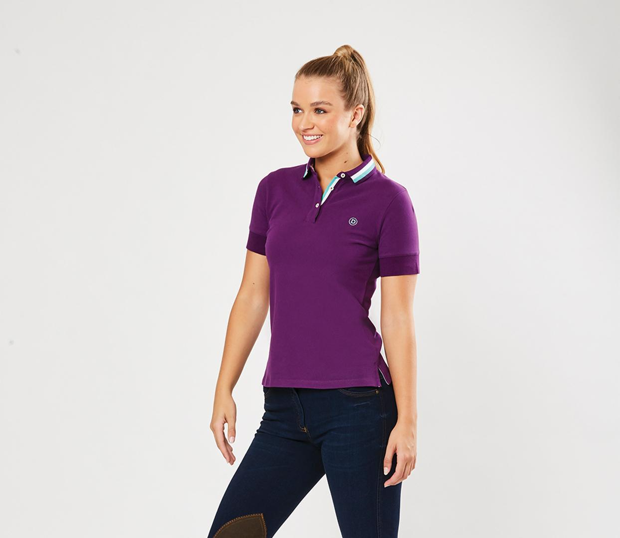 Dublin Bree Casual Stripe Collar Mid Sleeve Polo
