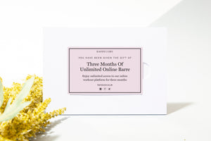 THREE MONTHS OF UNLIMITED ONLINE BARRE Gift Card With Sleeve