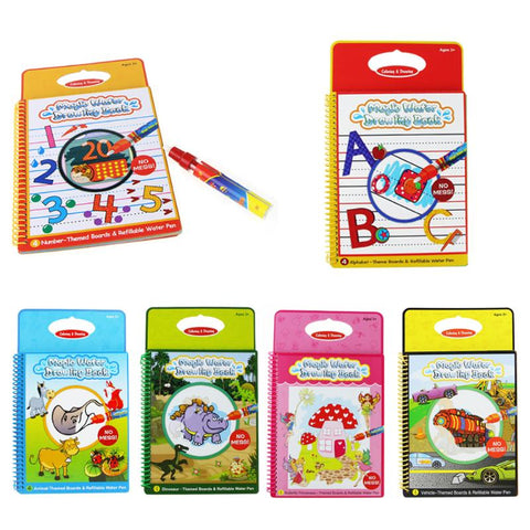 Magic Water Drawing Books with Water Pen - KidzCastlez