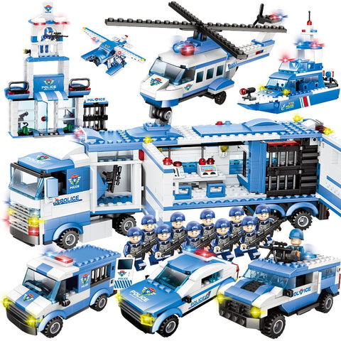 Car Helicopter Police Station Building Blocks  Compatible with Legos - KidzCastlez