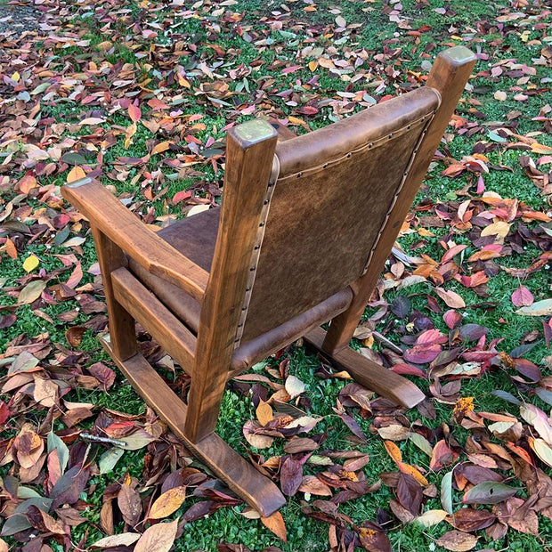 Rocking Chair Single Leather Seat And Back With Brass/Copper Detail